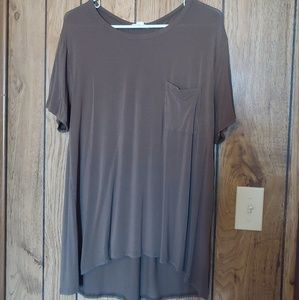 Olive Short Sleeve, Cut Out Back Detail Tunic
